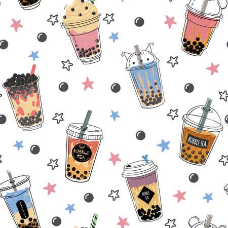 Bubble tea seamless pattern. Popular asian cold drink, pearl milk tea, trendy breakfast taiwanese boba tea with tapioca balls design vector texture. Plastic mug with straw for beverage Ilustração