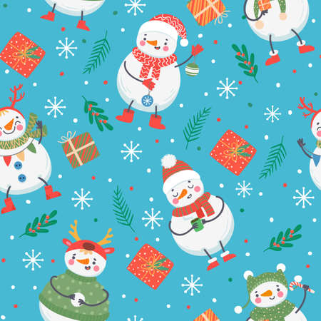 Snowman seamless pattern. Cute funny snowmen in winter clothes with gift, snowball and snowflakes. Christmas and new year vector texture. Characters in scarf, sweater and hat, holly berry