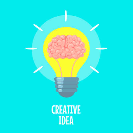 Brain in light bulb. Creative idea metaphor, conceptual strategy. Brainstorm, innovation solution icon, flat vector concept. New project or start up in business, thinking about invention