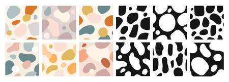Organic shapes seamless pattern. Abstract art color watercolor paint blobs. Expressive vector wallpaper modern textures set. Colorful, black and white forms collection. Pastel color blotches Stock fotó - 155570875