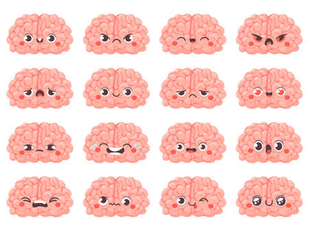 Brain emoticons. Cute brains characters with different face expression. Happy and angry, whink and sad, creative avatar cartoon vector set. Funny faces laughing and crying, surprised emotion