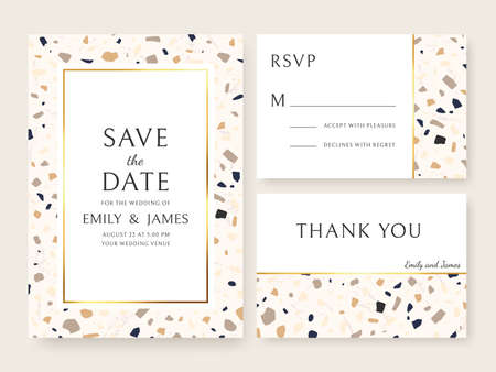 Terrazzo wedding invitation card. Abstract design template bridal flyers with marble texture, save date and name. Announcement vector set. Thank you card, RSVP with pieces, modern design