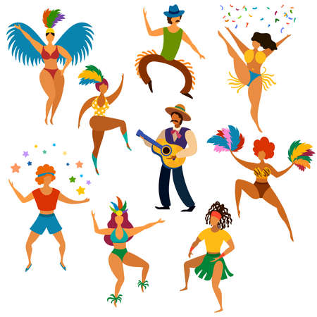 Carnival people. Happy dancing men and women in bright costume and playing latin festive music party, fun carnival parade cartoon vector set. Man playing guitar, women with feathers