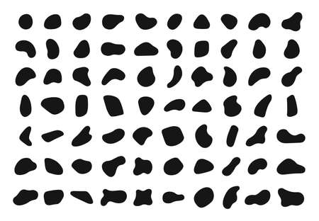 Random shapes. Black blobs, round abstract organic shape collection. Pebble, drops and stone silhouettes. Blotch, inkblot texture vector set. Rounded spot or speck of irregular form 일러스트