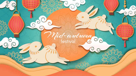 Mid autumn. Happy chinese autumn festival, rabbits and asian flowers and lanterns, moon and clouds, oriental style vector background. Paper cut art or craft greeting card for celebration Ilustração