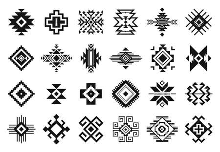Tribal elements. Monochrome geometric american indian patterns, navajo and aztec, ethnic ornament for textile decorative ornament vector set. Black cultural national symbols, art decoration