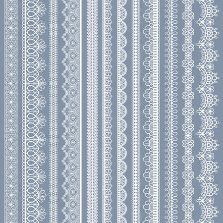 Lace seamless borders. Vintage ornamental lace strips with floral pattern, embroidered ornate eyelets handmade textile ribbons vector set. White cotton stripes for fabric and scrapbook Stock fotó - 155570883