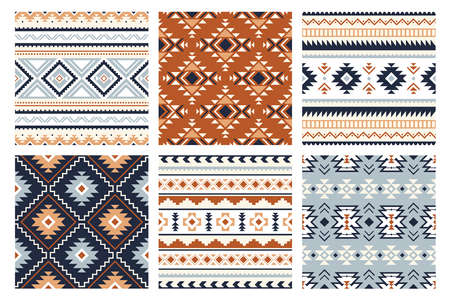 Tribal indian seamless pattern. Color mexican, aztec and maya ornament, ethnic stylish fabric geometric print wallpaper texture vector set. Unique folk, national culture collection Ilustração