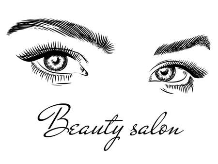 Female eyes. Beauty salon poster art design with beautiful woman eyes, eyelashes and eyebrow, fashion makeup hand drawn vector concept. Logo for studio with elegant look with long lashes on white