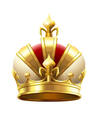Realistic royal crown. Classic king or prince golden accessory for coronation. Luxury authority logo. Imperial 3d symbol of leadership. Monarchy medieval element vector illustration