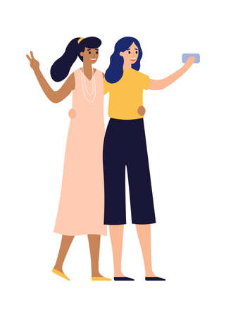 Girlfriends posing for photo on smartphone. Women taking selfie using mobile phone. Beautiful characters in elegant outfit spending time together taking photographs on gadget or device
