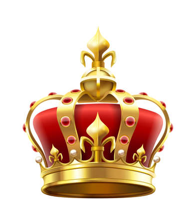 Golden royal crown with jewels. Heraldic elements, monarchic symbol for king. Monarchy accessory with red stones. Royalty luxury element for coronation isolated on white vector illustration