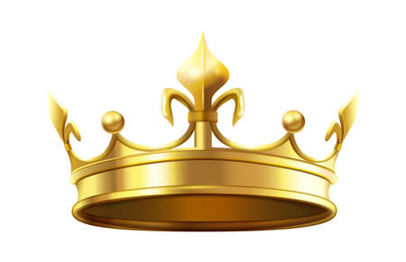 Royal crown for king and queen. Royalty and monarchy authority symbol, heraldic golden shiny element. Luxury 3d accessory for prince or princess isolated on white vector illustration