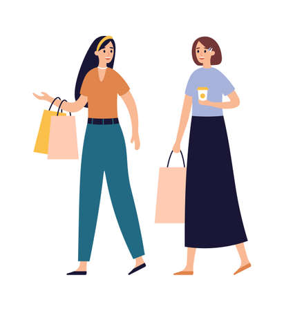 Women friends shopping together. Girls talking and walking with shopping bags and drinking coffee in paper cup. Buying clothes, characters spending leisure time vector illustration Stock fotó - 155581214