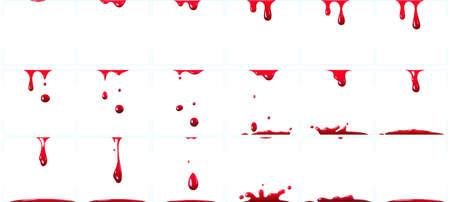 Dripping blood animation. Red paint splash for game, murder or crime scene with bloody splatter, halloween horror decoration for holiday celebration isolated set vector illustration Ilustração