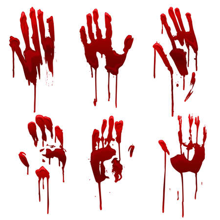 Bleeding hand trace, bloody hand prints set. Horror and dirty red palm for halloween decoration. Scary elements with stain, splatter and streams isolated on white. Murder or crime vector illustration