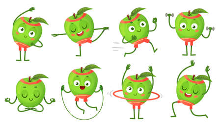 Cartoon apple character fitness, doing gymnastics. Fruit running, doing exercises with dumbbells. Meditating, sitting in lotus position, jumping with rope. Healthy lifestyle vector illustration Stock fotó - 155581274