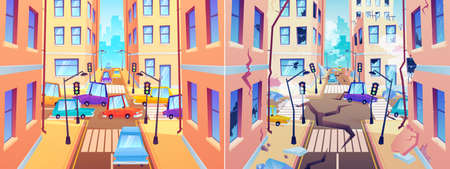 City street before and after earthquake. Damaged road and destroyed buildings. Town with good crossroad and after natural disaster with cracked ground. Cataclysm vector illustration Ilustração