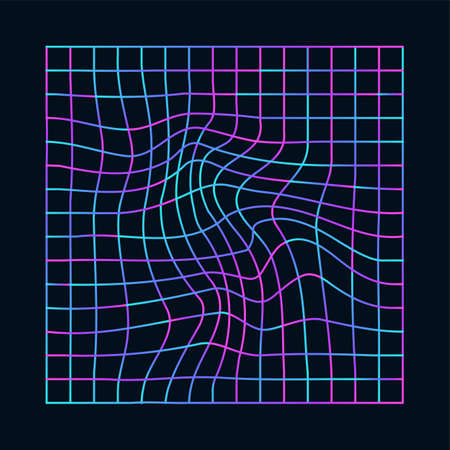 Cyberpunk distorted neon grid. Synthwave, vaporwave. Technology background with different colors, holographic laser grid. Trendy retro 80s, 90s style, futuristic element vector illustration