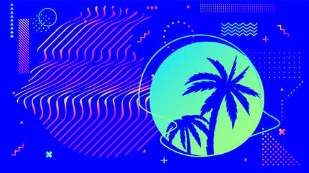 Cyberpunk bright blue background with palm trees in circle frame with wavy lines or stripes. Synthwave or retrowave style of 80s or 90s with dots, zigzags and shapes vector illustration