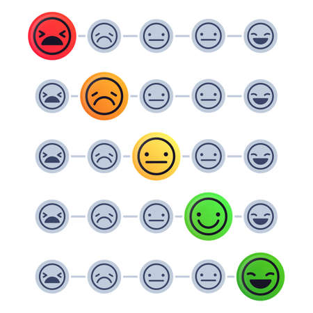 Emotional scale. Customer satisfaction meter. Mood indicator with different emotion measurement from happy to sad. Client mood level rating isolated, feedback concept vector illustration Ilustração