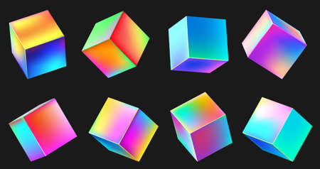 Holographic realistic 3D metal cube set. Neon color geometric element in different positions. Square with bright colorful gradients collection isolated on black vector illustration Ilustração