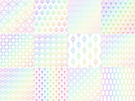 Holographic, metal rainbow seamless pattern set. Colorful shiny foil with gradient. Luminous design with abstract figures and shapes background for invitation card, texture vector illustration