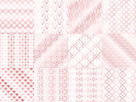 Rose gold seamless pattern set with abstract shapes and figures. Shiny background design for cover, flyer, invitation and greeting cards for holiday, wrapping paper vector illustration