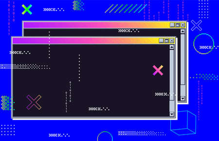 Vaporwave cyberpunk glitch retrofuturistic background with opened windows. User interface with neon color with coding numbers. Retro message box elements, bright backdrop vector illustration