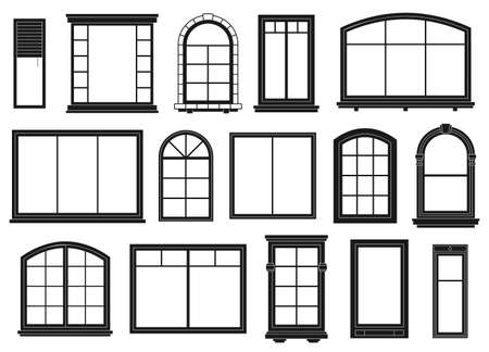 Window silhouettes. Exterior framing windows, black outline ornate arches and doors architectural building, isolated vector set. Architectural window exterior, line arch wooden outline illustration Illustration