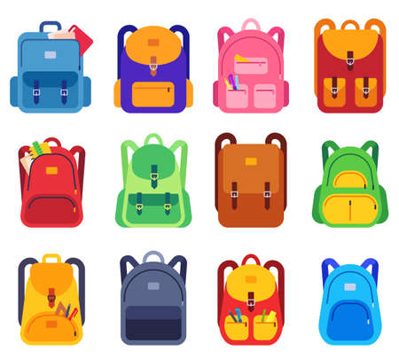 School bags. Backpacks with zipper and pockets for study and traveling, luggage objects. Back to school, students rucksacks flat vector set. Illustration schoolbag and baggage, luggage college