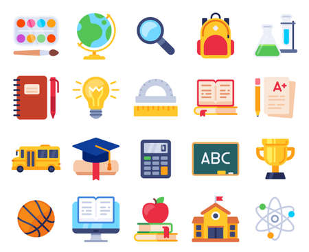 School icons. Education process students elementary study, pupil, note, pencil and book. Computer, ruler, school building vector set. Illustration education school, pencil and blackboard