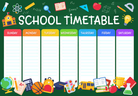 School timetable. Weekly planner schedule for students, pupils with days week and spaces for notes, school study organizer vector template. Illustration education planner, schedule and organizer