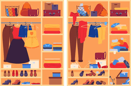 Messy clothes in wardrobe. Open closet with messy, organized shoes and accessories, cloakroom before and after organization, vector concept. Wardrobe clothes and messy closet illustration