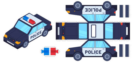 Police car paper cut toy. Kids crafts, create toys with scissors and glue. Paper cop vehicle, 3d model worksheet vector template. Illustration glue craft car, paper application kit