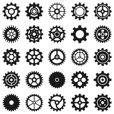 Gears. Transmission cog wheels and machine gearings, technical mecanisme, engineering motor, button black silhouette icons, vector set. Transmission mechanism, engineering machinery gear illustration