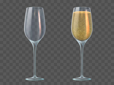 Champagne glass. Fill and empty transparent wineglasses with sparkling wine. Valentine day, christmas and wedding 3d realistic vector mockup. Illustration champagne glass liquid drink