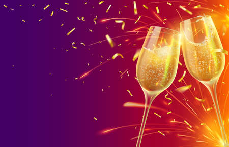 Happy new year with champagne glasses. Festive xmas banner with two wineglasses with sparkling wine and shining gold confetti vector concept. Illustration champagne celebration, christmas wine toast