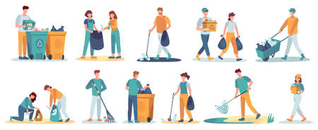 People clean up garbage. Volunteers gathering trash recycle. Characters cleaning environment litter. Waste collectors vector set. People collect trash and rubbish, cleaning environmental illustration Illusztráció