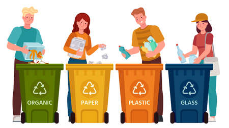 People sorting garbage. Men and women separate waste and throwing trash into recycling bins. Ecology lifestyle vector illustration. Waste and garbage, throwing rubbish, environmental segregation Illusztráció