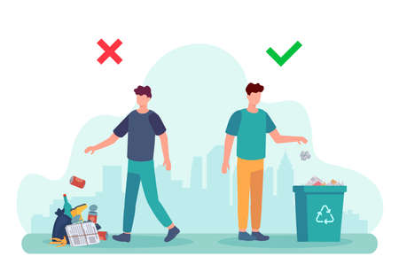 Littering behavior. Infographic of correct and wrong examples of throwing out garbage. Illustration of man disposing trash in container. Recycle rubbish, recycling environment littering