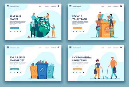Recycling trash landing page. People collecting and sorting garbage for recycle. Eco lifestyle. Reduce environment pollution web site vector. Illustration collecting and sorting junk Vektorgrafik