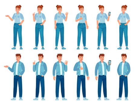 People in jeans gesture. Happy standing woman and man in casual denim shirts and pants showing gestures. Teenager holding phone, vector set. Illustration happy man and woman in casual jeans