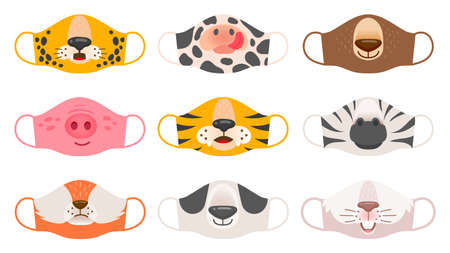 Medical mask with animals faces. Tiger, pig and zebra, bear and rabbit, fox and cow kids covid-19 protective masks vector set. Face animal protection mask against coronavirus illustration