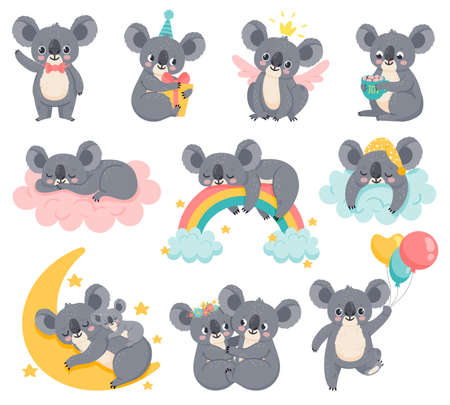 Cartoon birthday koalas. Lazy koala sleeping on cloud. Cute australian animals with balloons. Baby shower bear. Kids room decor vector set. Illustration baby lazy koala, bear on cloud with rainbow