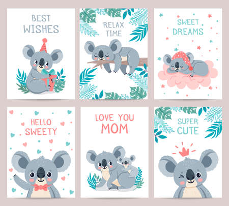 Koala posters cards. Prints with cute sleeping koalas. Australian baby bear hugs mother. Party invitation with jungle animal, vector set. Illustration card invitation party, lazy koala exotic animal