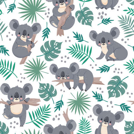 Seamless pattern with koalas. Cute australian bears and tropical leaves. Cartoon baby koala design. Vector nature background for kids. Illustration koala australia wallpaper, leaf and animal wrapping