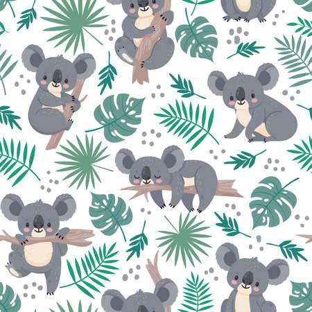 Seamless pattern with koalas. Cute australian bears and tropical leaves. Cartoon baby koala design. Vector nature background for kids. Illustration koala australia wallpaper, leaf and animal wrapping