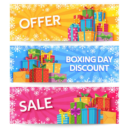 Boxing day. Holiday gift boxes with ribbon, xmas or wedding gifts, birthday presents, christmas offer promotion, big sale vector banners set. Illustration box gift discount, boxing christmas surprise Illusztráció