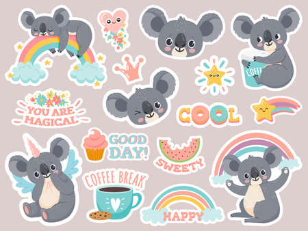 Magic koala stickers. Lazy australian koalas sleeping on rainbow. Patches with cute baby animal unicorns. Happy fairytale cartoon vector set. Illustration koala funny face, australia sweet baby Illusztráció